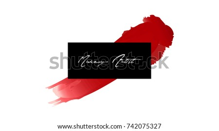 Makeup artist business card vector template stock vector royalty makeup artist business card vector template makeup stroke and smear red lipstick hand drawn flashek Image collections