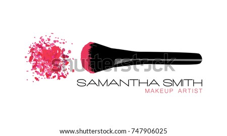 Makeup artist business card vector template stock vector royalty makeup artist business card vector template with pink crumbled face cosmetic powder blusher with black fbccfo Image collections