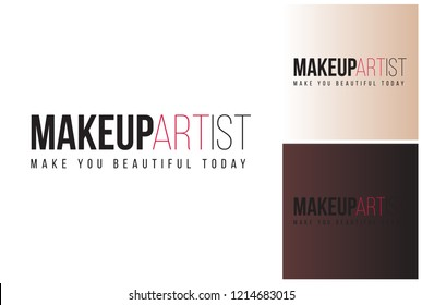 Makeup artist label. Professional makeup artist design kit with isolated elements on colors similar two white and black skin tone. Clip-art icon for branding, t-shirt print, promo ads.