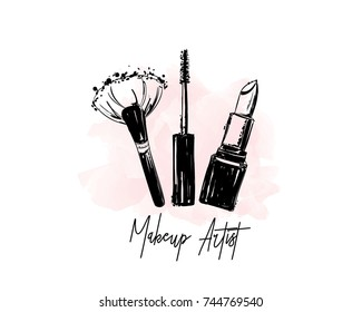 Makeup artist logo banner. Business card and logo concept. Beauty Set for make-up: lipstick, mascara brush, makeup brush and watercolor stain. Logo vector template illustration