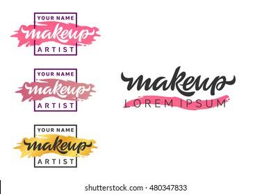Makeup artist logo. Lettering illustration.