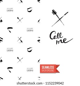 Makeup artist promo card flyer. Vector template greeting card with fashion seamless pattern, text: call me. Make up tools cosmetic accessory background, motivation quote