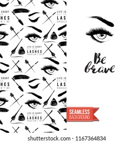 Makeup artist promo card flyer. Vector template greeting card with fashion seamless pattern, text: be brave. Make up tools cosmetic accessory background, motivation quote