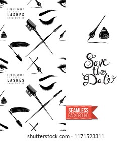 Makeup artist promo card flyer. Vector template greeting card with fashion seamless pattern, text: save the date. Make up tools cosmetic accessory background, motivation quote