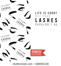 Makeup artist promo card flyer. Vector template greeting card with fashion pattern, text: life is short but lashes. Make up tools cosmetic accessory background, motivation quote.