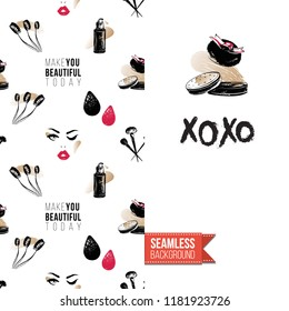 Makeup artist promo card flyer. Vector template greeting card with fashion seamless pattern, text: xoxo. Make up tools cosmetic accessory background, motivation quote