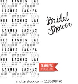 Makeup artist promo card flyer. Vector template greeting card with fashion seamless pattern, text: bridal shower. Make up tools cosmetic accessory background, motivation quote