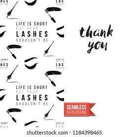 Makeup artist promo card flyer. Vector template greeting card with fashion seamless pattern, text: thank you. Make up tools cosmetic accessory background, motivation quote