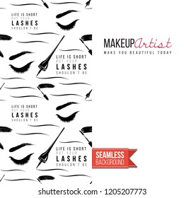Makeup artist promo card flyer. Vector template greeting card with fashion repeatable pattern, text: make you beautiful today. Make up tools cosmetic accessory background, motivation quote