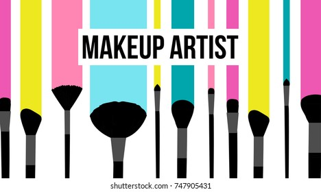 Makeup artist template business card. Colorful striped background with fashion silhouette of black makeup brushes set stroke and smeared. Banners for cosmetics. Vector illustration of beauty