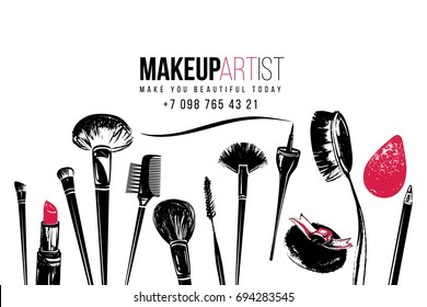 Makeup artist tools and beauty products. Business card. Vector fashion illustration. Isolated elements on white background. Hand drawn graphic in watercolor style. Original design.