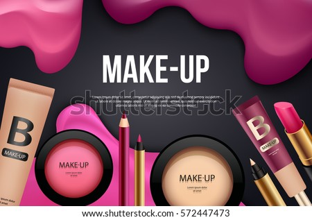Makeup banner or card template. Cosmetic background with beauty products