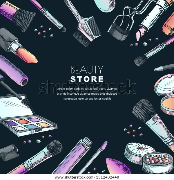 Makeup Banner Poster Label Design Templatesketch Stock Vector Royalty Free 1312432448