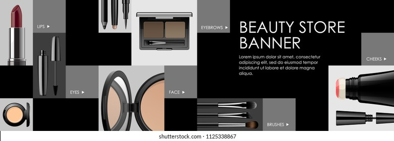 Makeup banner template for online beauty store. Poster design with beauty products and face cosmetic categories icons for web and print. Vector ad design with text block. Online shopping navigation.