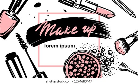 Makeup banner. Vector template for makeup artist. Business concept of beauty industry.