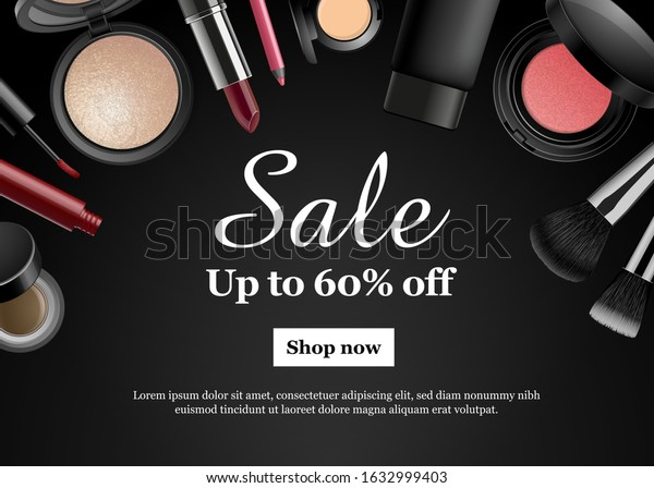 Makeup Beauty Banner Dark Background Cosmetic Stock Vector Royalty Free 1632999403