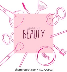 Makeup beauty emblem, logo, banner with type design and cosmetics. Makeup objects: make up brushes, eyebrow brushes, eyeshadow, blush, powder, bows, Accessories, Equipment, Beauty, Facial, Fashion