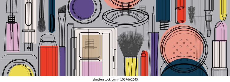 Makeup beauty products illustration. Black linear contour cosmetic tools isolated on colorful background. Advertising decorative horizontal banner in trendy colors. Vector pattern.