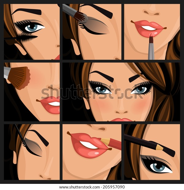 Make-up beauty woman set of lips eyes face on black background vector illustration