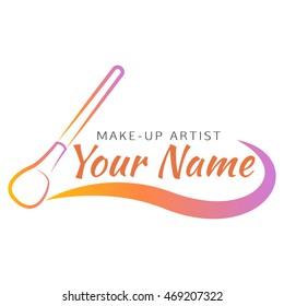 Makeup brush with curved line - abstract design concept for beauty salon and makeup artist. Vector logo design template.