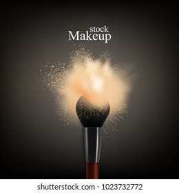 Makeup brush powder realistic background with text and brush with colourful splash of loose powder for face vector illustration