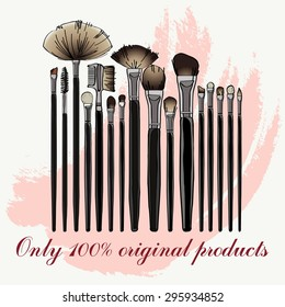 makeup brush set. vector illustration for your design, cosmetic banners, brochures and promotional items