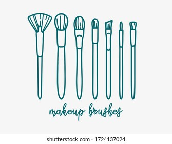 Makeup Brush Set. Vector outline illustration. Beauty and skincare icons set, isolated on white background. Make up collection for shop and salon