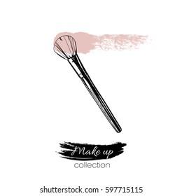 Makeup brush. Vector template.