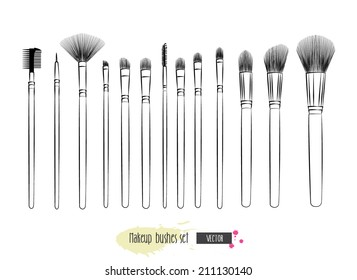Makeup brushes hand drawn vector set.