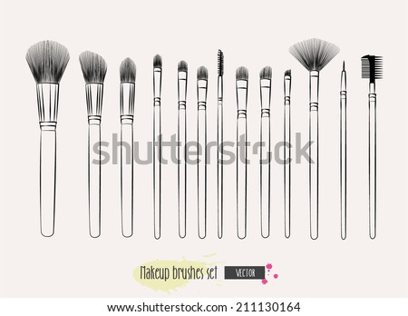 makeup brushes hand drawn vector 450w 211130164 makeup brushes hand drawn vector set stock vector (royalty free