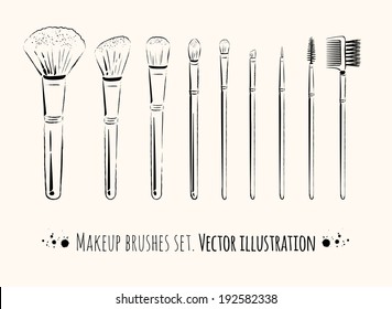 Makeup brushes kit. Hand drawn vector set. isolated.