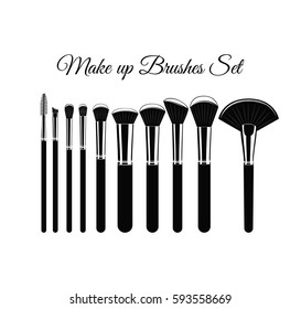Makeup brushes kit. Hand drawn vector set. isolated on white background