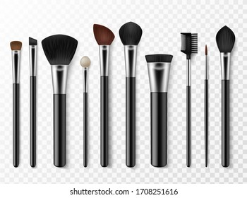 Makeup brushes. Realistic professional makeup artist tools for model face, fashion accessory for cosmetics, woman style isolated vector set