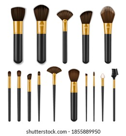 Makeup brushes realistic set, make up cosmetics, vector isolated 3D. Makeup brushes, black with golden for professional beauty make up, eye shadow, blush powder and eyebrow mascara comb with sponge