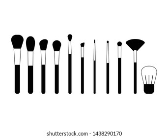 Makeup brushes simple vector set