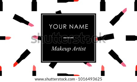 Makeup business cards template red pink stock vector royalty free makeup business cards template with red and pink lipstick in a flat style on a black cheaphphosting Choice Image