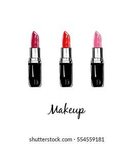 Makeup collection. Lipsticks. Vector template.