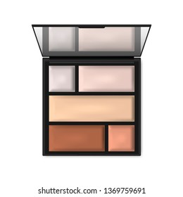 Make-up contouring palette, realistic illustration. Makeup concealer, highlighter, corrective powder kit. Open square cosmetic case with mirror - top view, vector template.