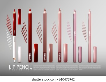 Makeup cosmetic products ads template with lip pencils of different colors in realistic style isolated vector illustration