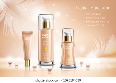 Makeup cosmetics advertising composition with liquid foundation containers and tubes decorated by pearls and feathers realistic vector illustration