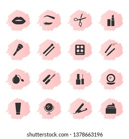 Makeup and cosmetics icons, black silhouettes on pink background