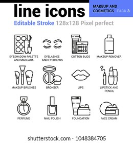 Makeup and cosmetics line icons - Editable Stroke, Pixel perfect thin line vector icons for web design and website application.