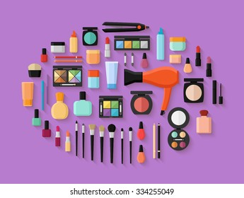 Makeup and cosmetics products and tools with lipstic makeup brushes eyeshadow mascara. Flat style vector illustration
