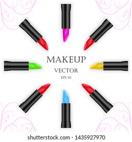 Makeup design with rouge in 5 colors. The lipsticks are arranged in a circle, an empty space in the middle. Purple floral decorations in the corners on white isolated background.