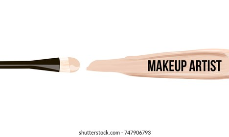 Makeup design template logo for makeup artist. Cosmetic Logo concept of liquid foundation and lipstick smear strokes. Elegant vector template Business card