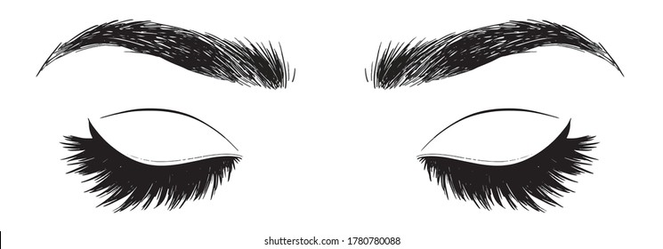 Makeup designer eyes face blank chart hand drawn vector illustration element isolated on a white background