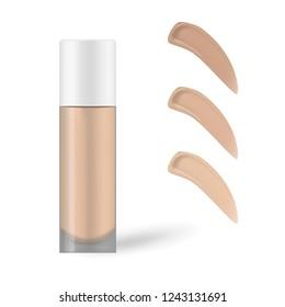 Make-up foundation bottle with foundation smudges color shade palette, vector illustration. Makeup concealer mock-up.
