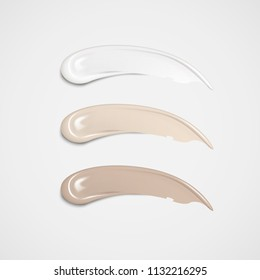 Makeup foundation set in different skin tone in 3d illustration