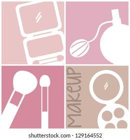 makeup icons over squares background. vector illustration