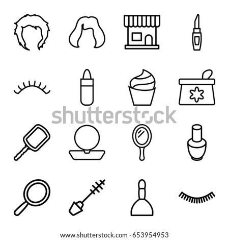 Makeup Icons Set Set 16 Makeup Stock Vector Royalty Free 653954953